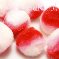 Pompons Wit-Roze-Rood 25 mm